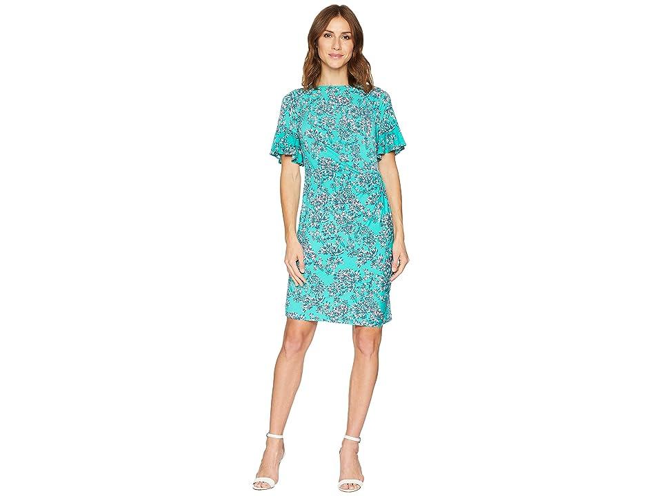 Taylor Boat Neck Short Sleeve Mini Print Sheath Dress (Marine Green) Women