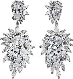 CZ Cluster Drop Clip Earrings