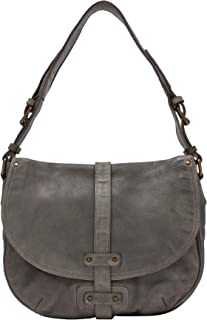DUDU Shoulder Bag Womens Hobo Handbag in Real Vintage Leather with Flap and Zip Closure