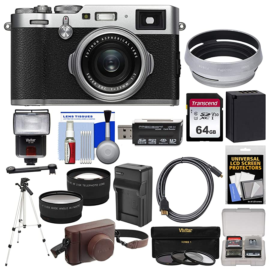 Fujifilm X100F Wi-Fi Digital Camera (Silver) with Leather Case + 64GB Card + Flash + Battery & Charger + Tripod + Tele/Wide Lens Kit