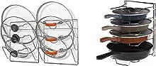 Simple Houseware Pot Lid Organizer Rack + Adjustable Pan Organizer, Chrome