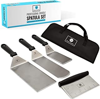 JORDIGAMO Deluxe Griddle Spatula Set - Professional Stainless Steel Cooking Kit - 3 Spatulas Scraper Carrying Bag - Camping Tailgating Outdoor BBQ - Grilling Hibachi Accessories - Metal Tool Set