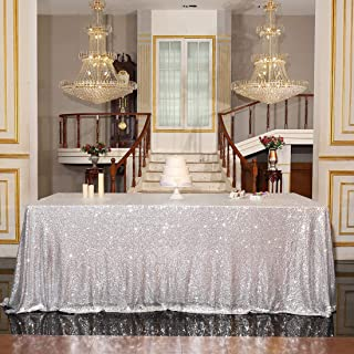"""Juya Delight 60"""" x 102"""" Silver Rectangle Sequin Tablecloth for Party Dinner Banquet Festival Wedding Anniversary Exhibition Dessert Table"""