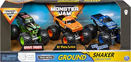 Monster Jam, Ground Shaker 3 Pack (Grave Digger, El Toro Loco and Blue Thunder), 1:64 Scale Die-Cast Vehicles