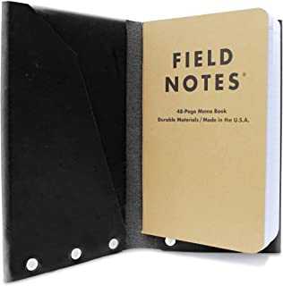 Leather Passport Holder and Field Notes Cover, Passport Case (Black)