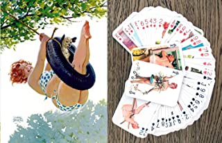 FlonzGift Hilda Playing Cards (Poker Deck 54 Cards All Different) Hilda Chubby Redhead Sexy Girl in Swimsuit Vintage Plus Size Pinup