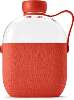 Hip 22-oz Flat Water Bottle Flask with Textured Silicone Sleeve and Carrying Handle - Tritan BPA-Free Plastic (Coral)