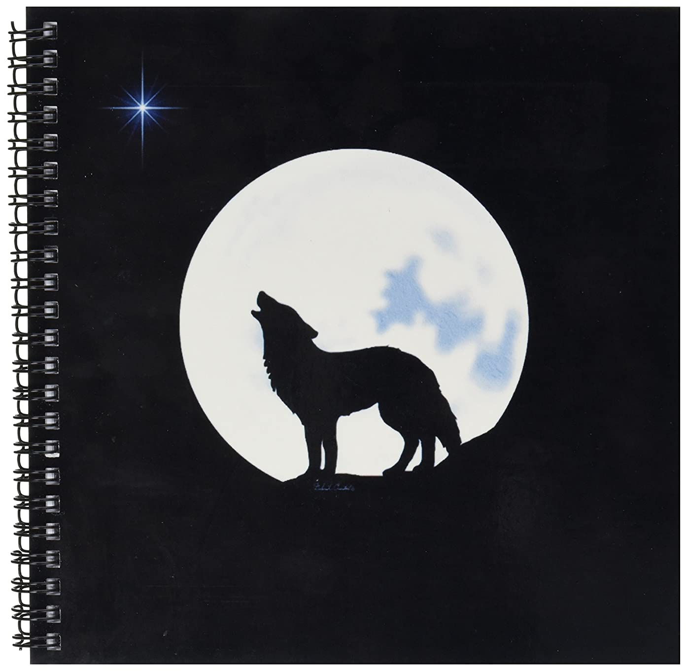 3dRose db_11655_1 This Artwork Features Alone Wolf in Silhouette Howling Beneath The Bright Full Moon Drawing Book, 8 by 8-Inch