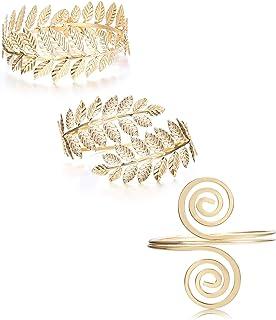 FINREZIO Juego de 3 pulseras para la parte superior del brazo, estilo victoriano, filigrana, estilo boho, bañadas en oro, ...