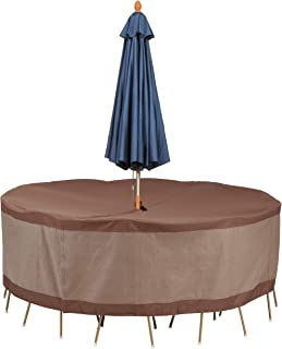 Duck Covers UTRU9629 Ultimate Table and Chair Set Cover with Umbrella Hole, Mocha Cappuccino
