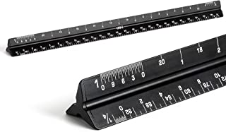Architectural Scale Ruler 12 inch Laser-Etched Aluminum Triangular Professional-Grade Drafting Ruler for Architects Drafts...