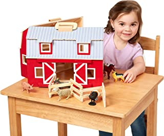 "Melissa & Doug Wooden Fold & Go Barn, Animal & People Play Set (7 Animal Play Figures, 11.25"" H x 13.5"" W x 4.7"" L, Great Gift for Girls and Boys - Best for 3, 4, 5, and 6 Year Olds)"