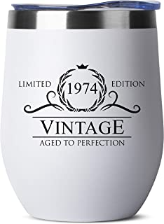 1974 45th Birthday Gifts for Women Men | Vintage Aged to Perfection Stainless Steel Tumbler -12 oz White Tumblers w Lid | Funny Gift Ideas for Him Her Husband Wife Mom Dad | Insulated Cups 45 th bday