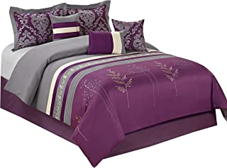 HIG 7 Piece Comforter Set Queen-Purple Microfiber Embroidery and Patchwork-DALA Bed in A Bag Queen Size-Soft, Hypoallergenic,Fade Resistant-1 Comforter,2 Shams,3 Decorative Pillows,1 Bedskirt