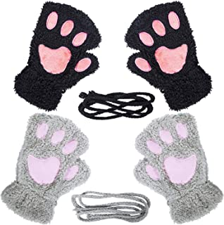 2 Pairs Womens Cat Paw Gloves Winter Plush Faux Fur Cute Kitten Fingerless Mittens