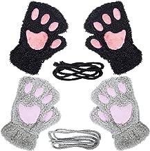 Loritta 2 Pairs Womens Cat Paw Gloves Winter Plush Faux Fur Cute Kitten Fingerless Mittens