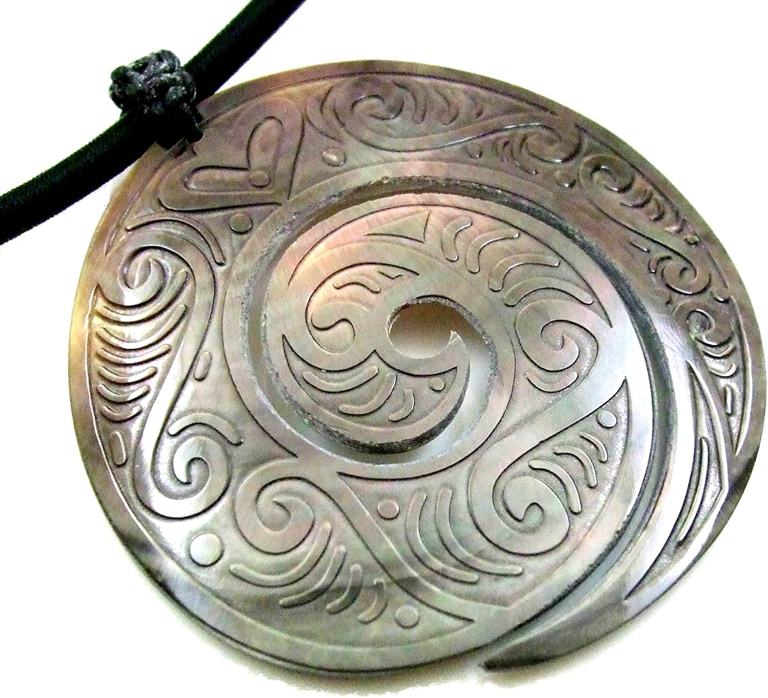 Swimmi Hand Carved Mother of Pearl Shell Maori Peace Pendant Adjustable Cord Necklace Handmade Jewelry EA308