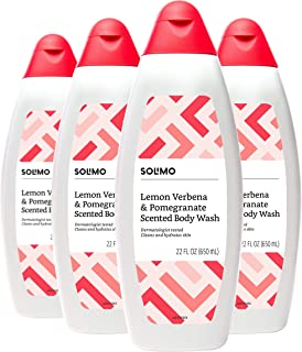 Amazon Brand - Solimo Body Wash, Lemon Verbena and Pomegranate Scented, Dermatologist Tested, 22 Fluid Ounce (Pack of 4)