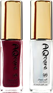 AQMORE Non Toxic Water Based Peel Off Nail Polish – Lasts for Days, GEL Like Shine, Dries in Minutes, Fragrance & Paraben Free, Kid Safe, Great Gift Idea - 2 PCS (0.29 fl oz/Bottle) (Romanee)