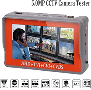 4 in 1 CCTV Tester for 1080P/3.0mp/4.0mp/5.0 Megapixel AHD, TVI, CVI, CVBS Analog Security Camera, 4.3 inch LCD Screen Video Monitor, 12V 1A DC Power Out, PTZ/UTP Cable/Audio Tester w/ 2600mAh Battery