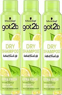 Got2b - Champú Seco Frescor Extra - 3uds de 200ml (600ml) – Refresca tu cabello al instante – Un día de extra de frescor p...