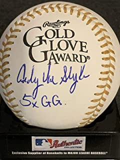 Andy Van Slyke Pittsburgh Pirates 5 X Gold Glove Signed Oml Gold Glove Baseball - Autographed MLB Gloves