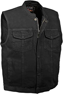 Milwaukee Performance MDM3000 Men's Black Concealed Snap Denim Club Vest with Hidden Zipper - 5X-Large