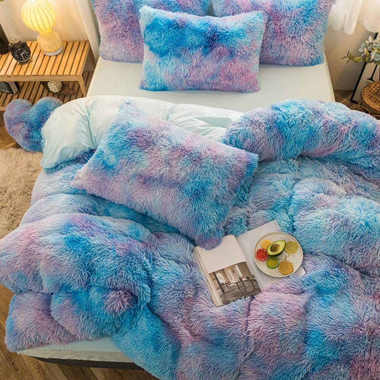 5PCS Faux Fur Duvet Cover Safety and trust Set 1 Plush Shaggy Velvet Bedding Don't miss the campaign