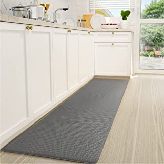 """Color&Geometry Kitchen Rug Cushioned Anti-Fatigue Kitchen Mat, Non Skid & Waterproof Kitchen Mat for Floor 17""""x59""""Grey"""
