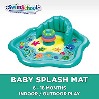 SwimSchool Baby Splash Mat with Backrest (No Canopy), Extra-Wide Inflatable Mat with Three Toys, 6 to 24 Months, Aqua