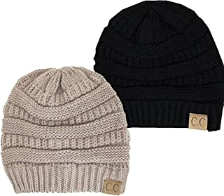 Trendy Warm Chunky Soft Stretch Cable Knit Slouchy Beanie Skully HAT20A, 2pac