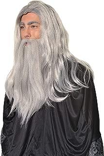 Halloween Cosplay Wizard, Sorcerer, Warlock Merlin Dumbledore Gandalf Style Old Man Wig & Beard Set H0554 Grey