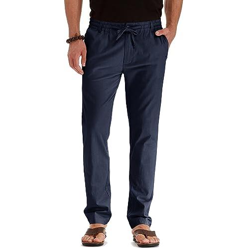 a1441717c28d Mr.Zhang Men s Drawstring Casual Beach Trousers Linen Summer Pants