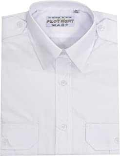 Maan Store Mens Pilot Shirts Long Sleeves Security Bus Driver Shirt with Shoulder Appellate Two Front Pockets