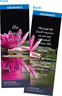 Christian Bookmark with Bible Verse, Pack of 25, Assurance Themed, His Mercies Are New Every Morning, Lamentations 3:22-23