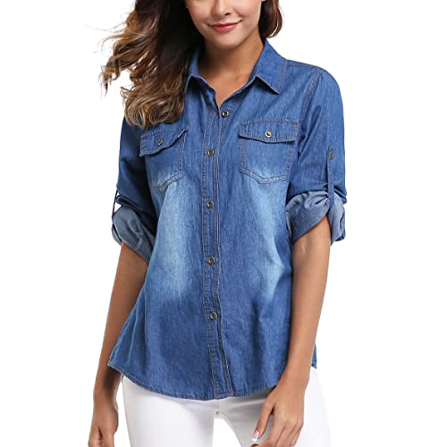 30bf90348cc Women's Denim Shirt Long Sleeves Jean Shirts Blouse Tops Washed Roll up  Button Down Western Pockets