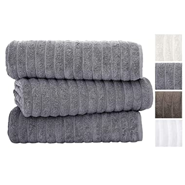 Classic Turkish Towels Luxury Ribbed Bath Sheets - Soft Thick Jacquard Woven 3 Piece Bath Set Made with 100% Turkish Cotton (40X65 Bath Sheets, Grey)