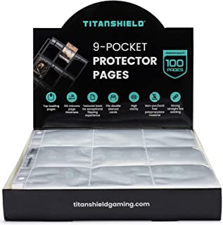 TitanShield (100 Pages) 9-Pocket Trading Card Sleeve Pages for MTG Magic, Pokemon, Yugioh, Photocards and Baseball Cards