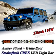 AngelMa 32'' Dual Color Amber/White CREE Led Light Bar Cree LED Light Bar Offroad stroboflash 180w 20000 Lumen Off Road Polaris RZR UTV 4WD 4X4 Jeep Truck Tractor Raptor Bumper Rock+ Wireless Control