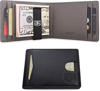 RFID Blocking Slim Minimalist Frontpocket Wallet for Men, Ultralight Money Cash Clip, 6 Card Slots, Front Easy Access Slot. Mens Leather Bifold Travel Wallet Gift Box