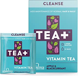 Tea+ Cleanse Vitamin Herbal Tea Bags With Selenium Biotin, Apple Blackcurrant Fruit Flavour, 14 x 2, 28 Day Supply