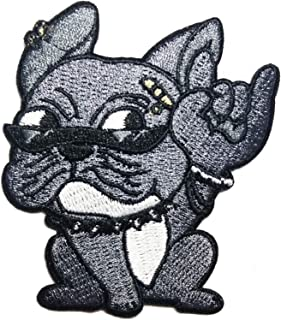 Pitbull Dog Rider Biker Patches Punk Rock Animal Cartoon Children Kid Patch Appliques Fabric Decorating for Hat Cap Polo Backpack Clothing Jacket T-Shirt DIY Embroidered Iron On/Sew On Patch