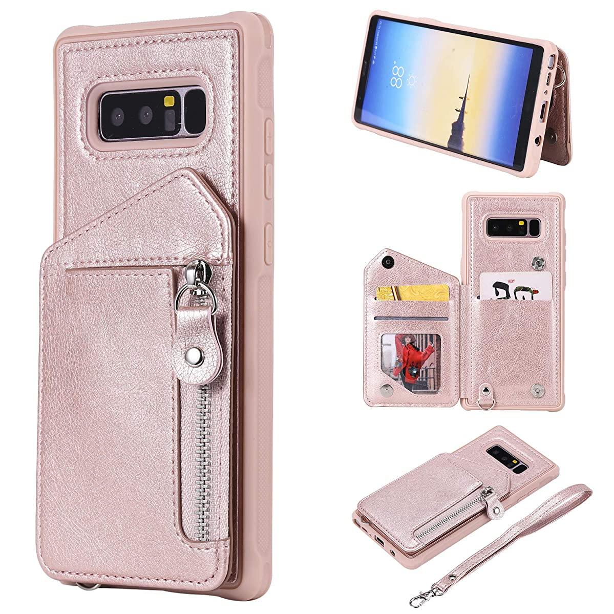 DAMONDY Case for Galaxy Note 8, Zipper Wallet Purse Card Holders Design Cover Soft Shockproof Bumper Folio Flip Leather Kickstand Clasp Wrist Strap Case for Samsung Galaxy Note 8 (2017)-Rose Gold