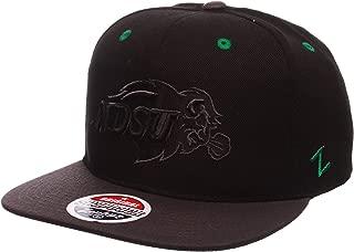 ZHATS North Dakota State Bisons Blackout Tonal Z11 Adjustable Snapback Cap - NCAA NDSU Flat Bill Black Baseball Hat