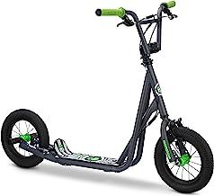 اسکوتر Mongoose Expo ، دارای ترمزهای جلو و عقب کولیپر و میله های عقب محور با چرخ های تورم 12 اینچی ، در رنگ های آبی ، سیاه ، خاکستری / سبز و صورتی یا مشکی موجود است