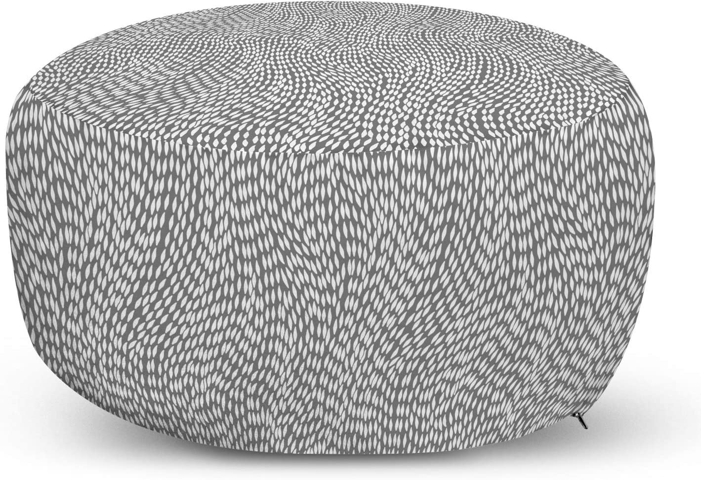 Award Ambesonne Grey and In a popularity White Pouf Cover Zipper Hand with Styl Drawn