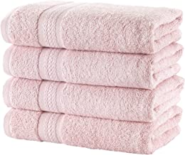 Regal Ruby Quick-Dry 4 Pieces Pink Hand Towels Highly Absorbent 100% Turkish Cotton - Perfect Lightweight Towel for Bathro...