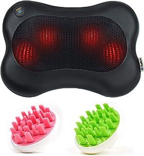 Zyllion Shiatsu Back & Neck Massager (ZMA-13-BK) Black & Hair Scalp Massagers (ZMA-12) Pink & Green