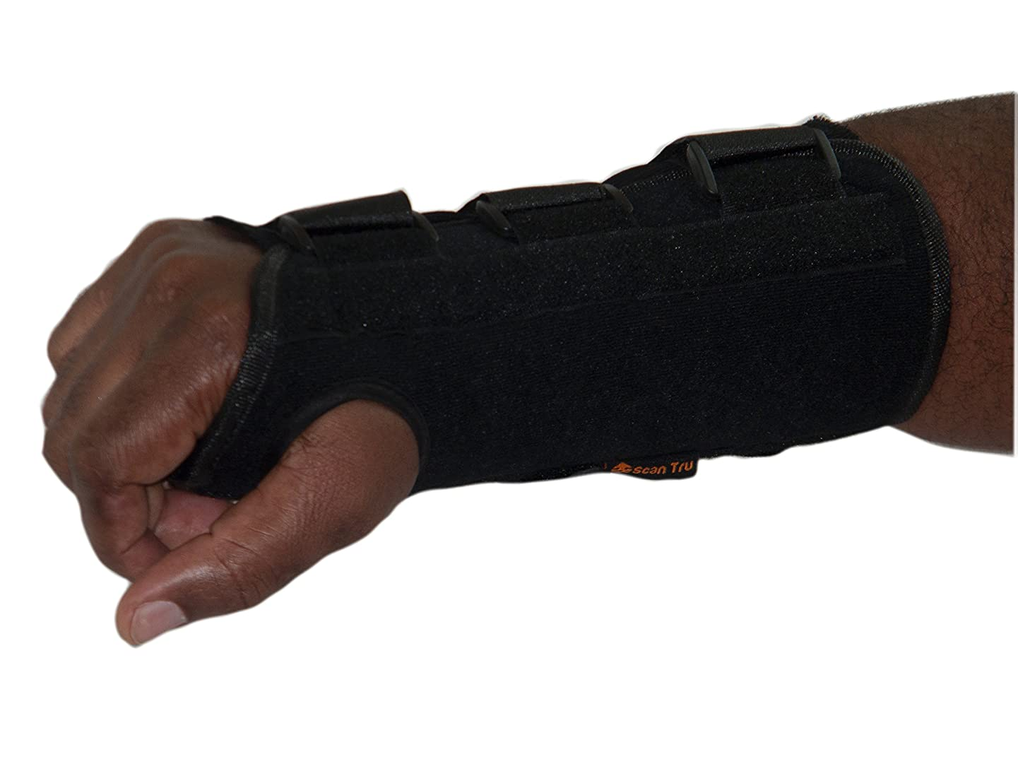 Scan Tru Carpal Tunnel Adjustable Wrist Brace Right Or Left for Women Men Day Or Nighttime – Breathable, Thin with Metal Splint, Flexible Washable for Work Or Gaming Size (Long Large R)