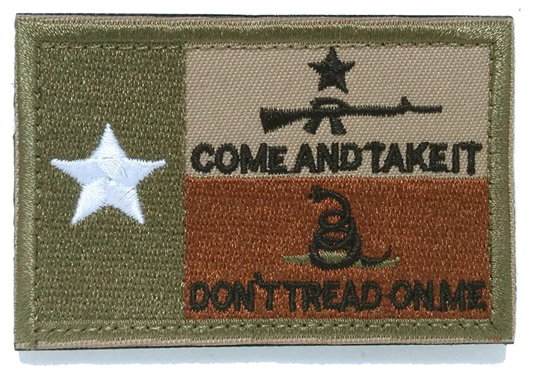 WZT Texas State Flag with Come & Take It AR15 and Gadsden Snake - 3x2 Hat Patch - Coyote Brown